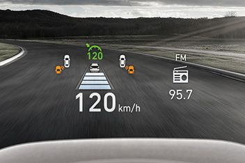 A picture of the head-up display inside the new Hyundai SANTA FE SUV.